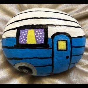 "Hand painted rock trailer RV blue & white 5"" wide"